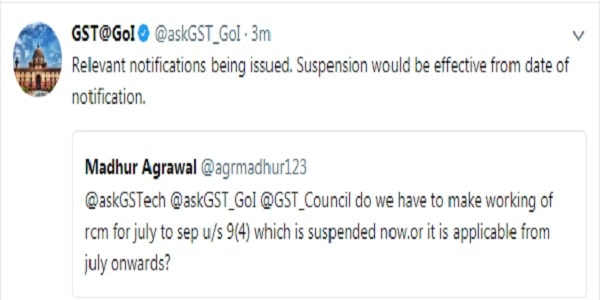 CBEC Notifies Partial Suspension of 'Reverse Charge Mechanism (RCM) under GST till 31 March 2018